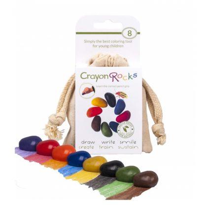 Crayon Rocks (8 stuks) in een katoenen zakje
