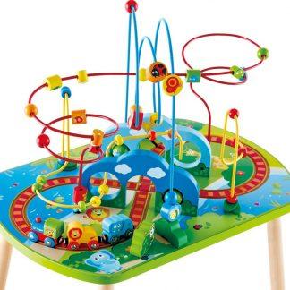 hape jungle houten treinbaan met kralenframe speeltafel